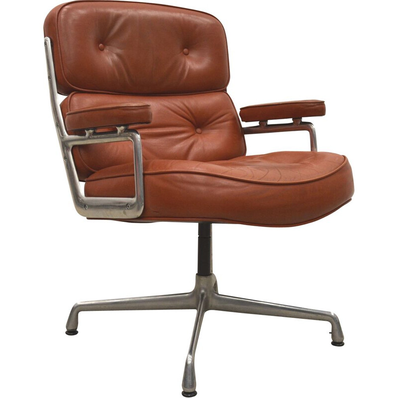 Vintage Cognac ES108 time life lobby chair by Charles Eames for Herman Miller, 1970s