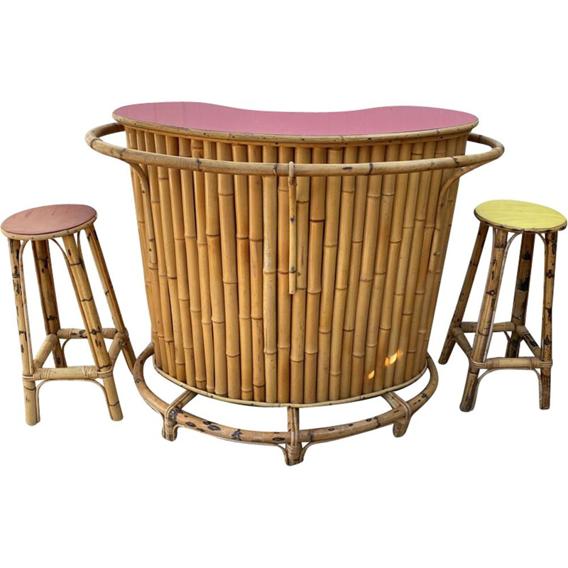 Set of vintage bamboo and rattan bar and 2 stools, 1960-1970s
