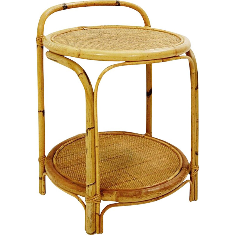 Mid century side Table bar in bamboo & cane, 1960s