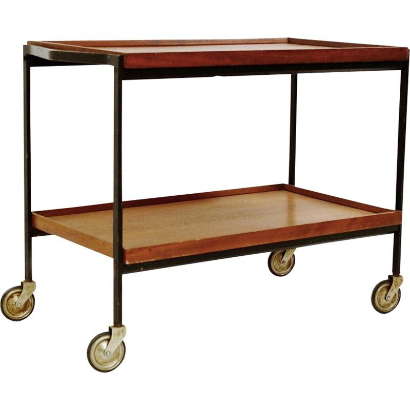 Vintage black lacquered metal and teak trolley, Italy 1960s