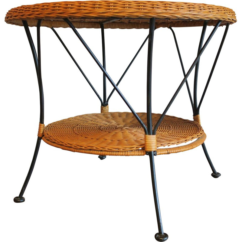 Vintage rattan and black iron 2-level coffee table, 1960s
