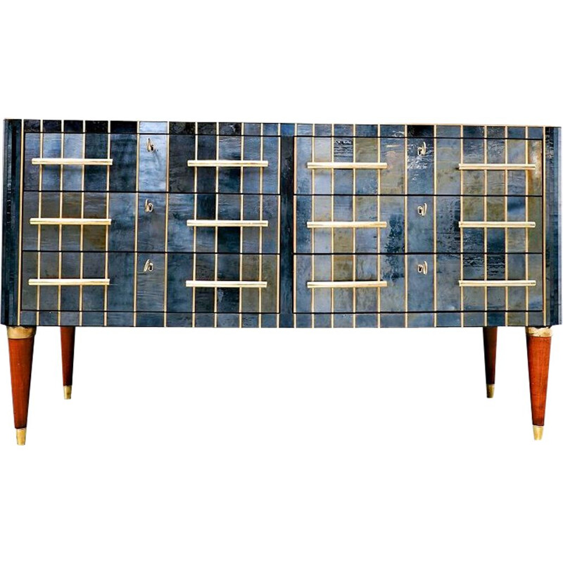 Vintage custom chest of drawers in glass brass and wood, Italy 1950s