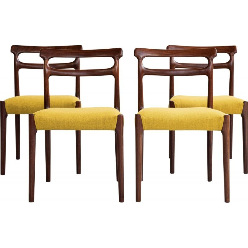 Mid century set of 4 dining chairs in solid wood and ocher fabric, Denmark 1960s