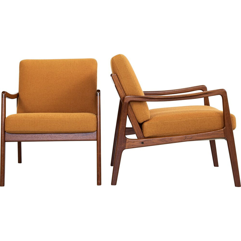 Mid century pair of easy chairs in teak by Ole Wanscher for France & Søn, Denmark 1960s