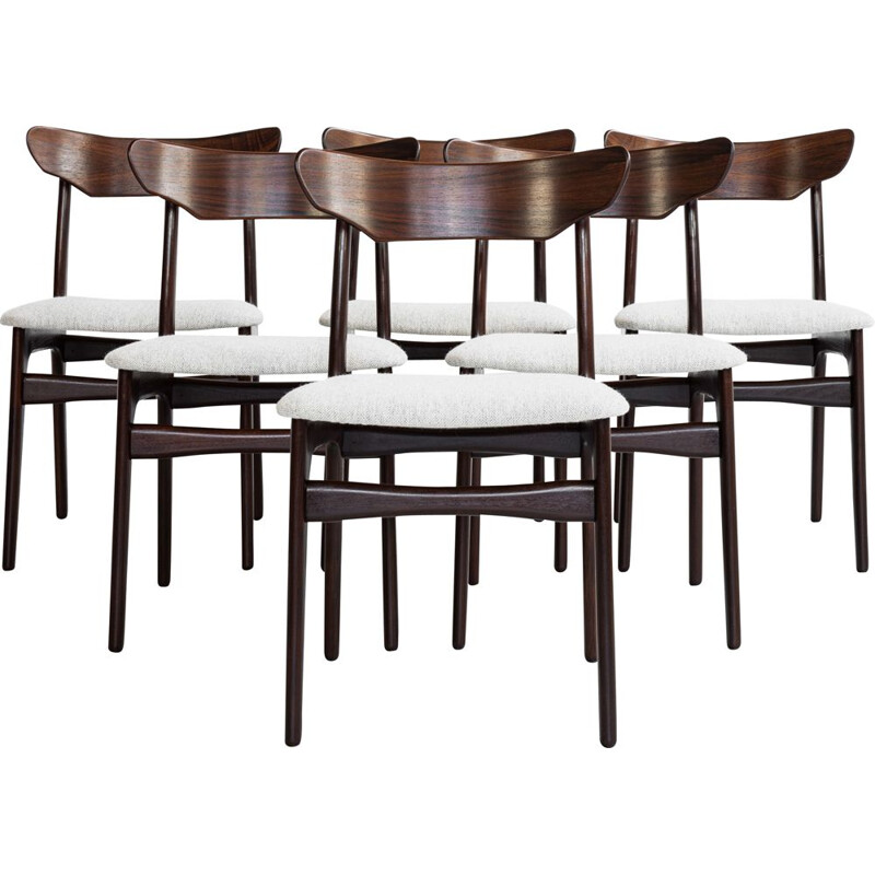 Mid century set of 6 dining chairs in rosewood by Schiønning & Elgaard, Denmark 1960s
