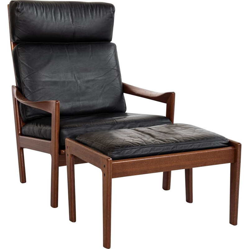 Mid century lounge chair and ottoman in teak and leather by Illum Wikkelsø for Niels Eilersen, Denmark 1960s