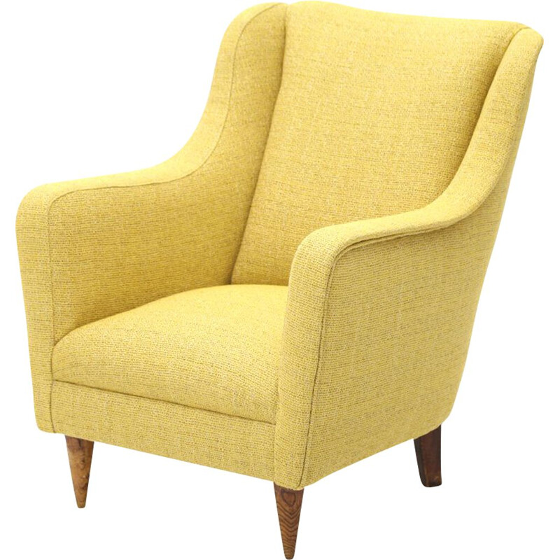 Vintage armchair in yellow fabric, Italy 1950s