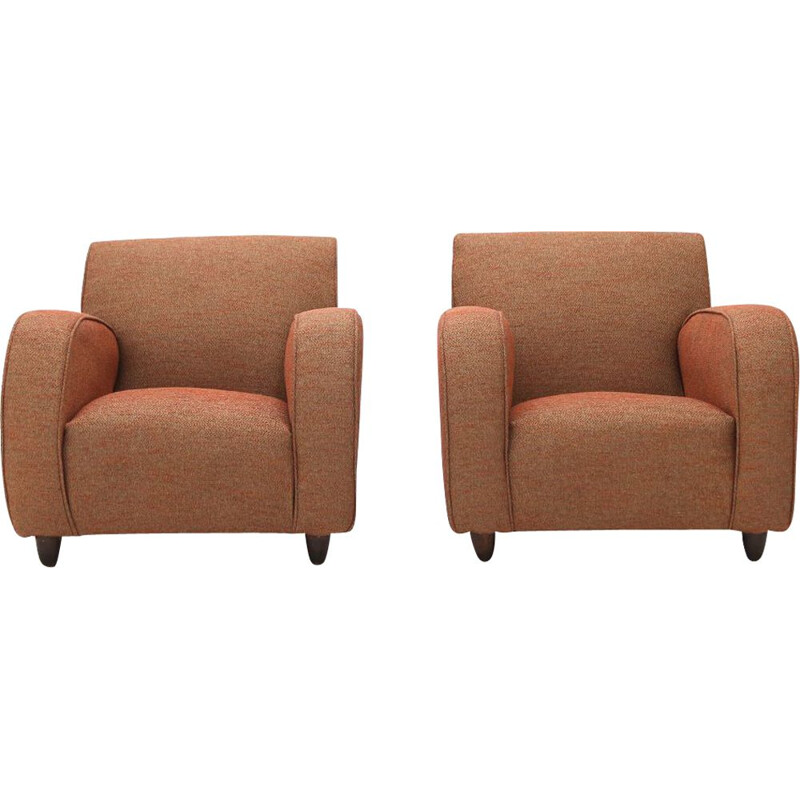 Pair of vintage armchairs in brick-colored fabric, 1930s