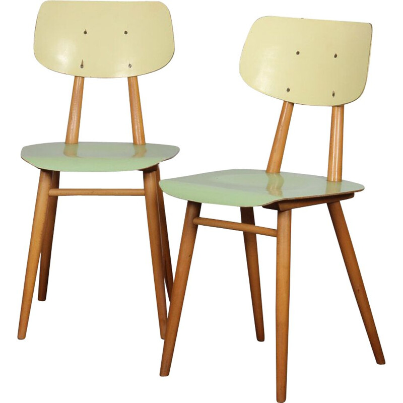 Pair of vintage green chairs for Ton, 1960s
