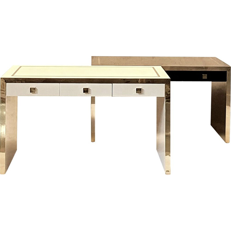 Pair of vintage lacquered wood & brass desks by Jean Claude Mahey, 1970s