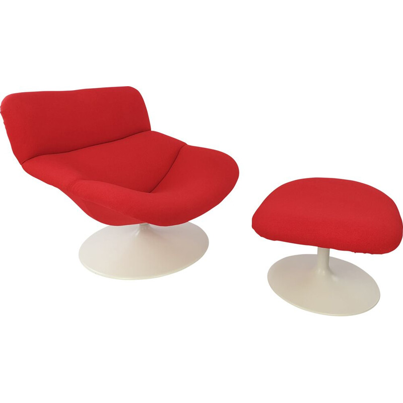 Model F518 vintage lounge chair with ottoman by Geoffrey Harcourt for Artifort, 1970s