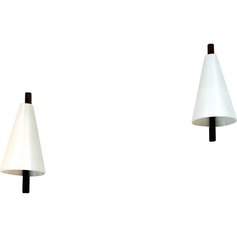 Pair of teak and acrylic wall lamps by Hans-Agne Jakobsson, Sweden 1950s
