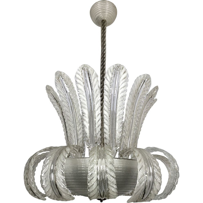 Vintage Art deco murano Pulegoso glass chandelier by Barovier & Toso, Italy 1940s