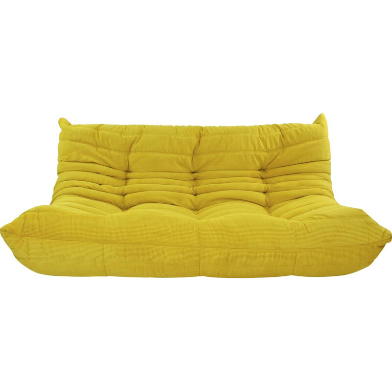 TOGO 3-seater vintage armchair in yellow corduroy by Michel Ducaroy for Ligne Roset, 2000s
