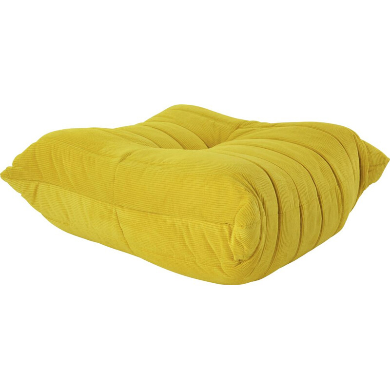 TOGO vintage pouffe in yellow corduroy by Michel Ducaroy for Ligne Roset, 2000s