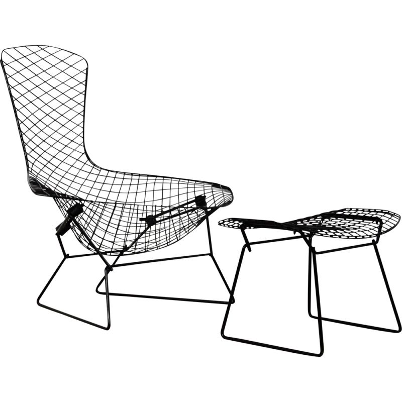 Vintage Bird lounge chair with ottoman by Harry Bertoia for Knoll, 1960s