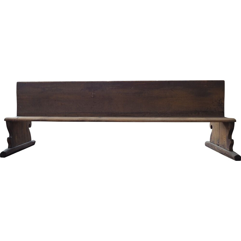 Antique long all-wood school bench with original paint, Czechoslovakia 1930s