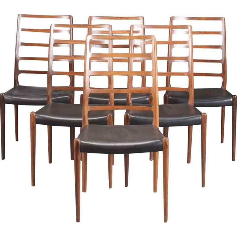Set of 6 vintage rosewood chairs by Niels Otto Møller, Denmark 1960s