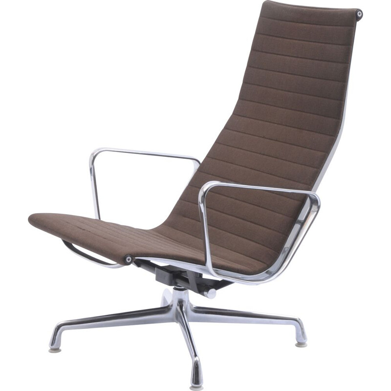 Vintage EA 124 swivel lounge chair by Charles and Ray Eames for Vitra