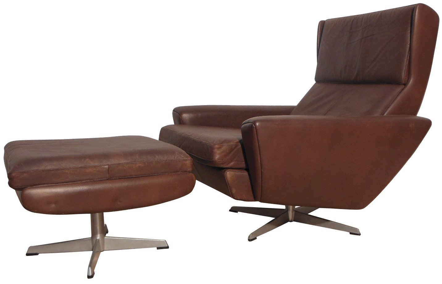 Beau Brown Leather Loungechair And Ottoman, Georg THAMS   1960s. Previous Next