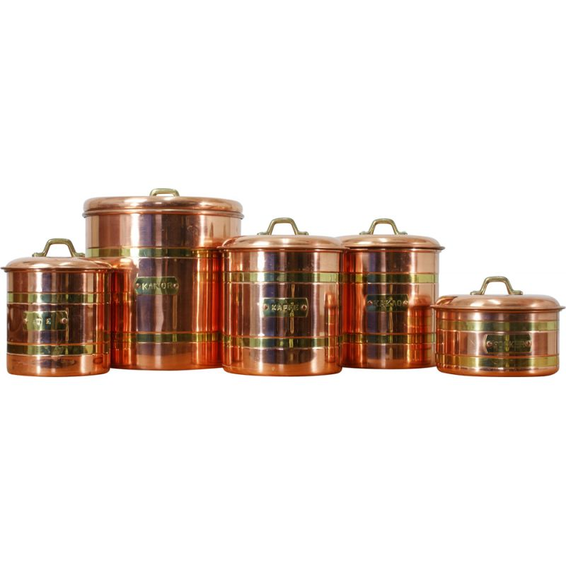 Set of 5 vintage copper containers, Sweden 1970s