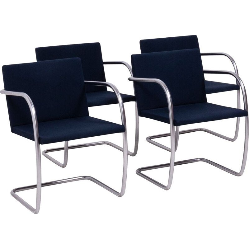 Set of 4 Brno navy fabric vintage dining chairs by Ludwig Mies van der Rohe for Knoll, 1930s