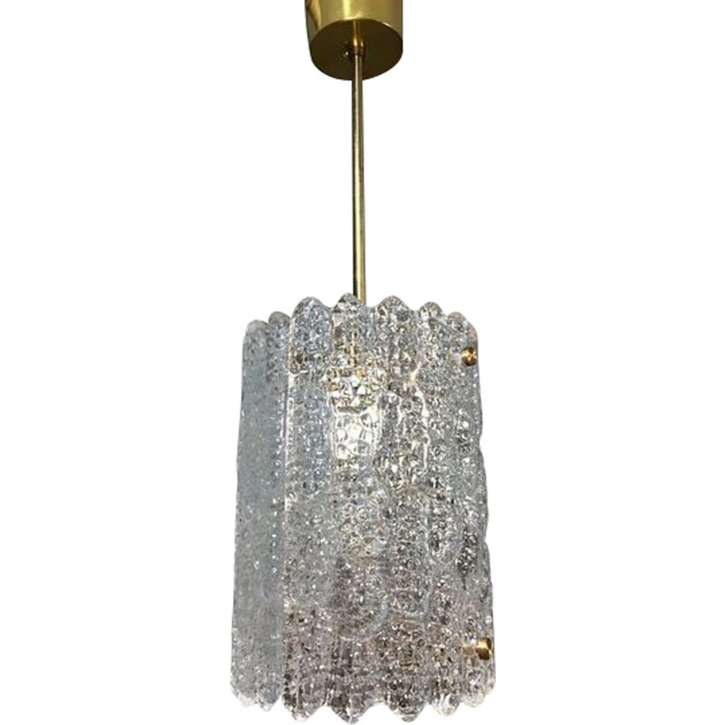 Vintage crystal hanging lamp by Carl Fagerlund for Orefors, Sweden 1970s