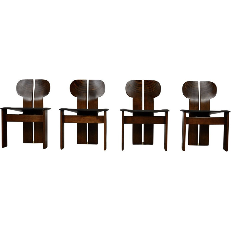 Mid-century set of 4 chairs in wood and leather by Tobia&Afra Scarpa