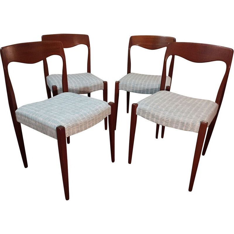 Set of 4 vintage scandinavian chairs by Niels Otto Moller, Denmark 1960s