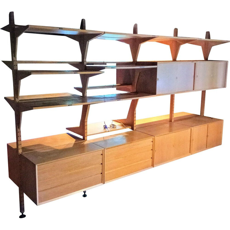 Self-supporting vintage shelving system by Poul Cadovius for Cado