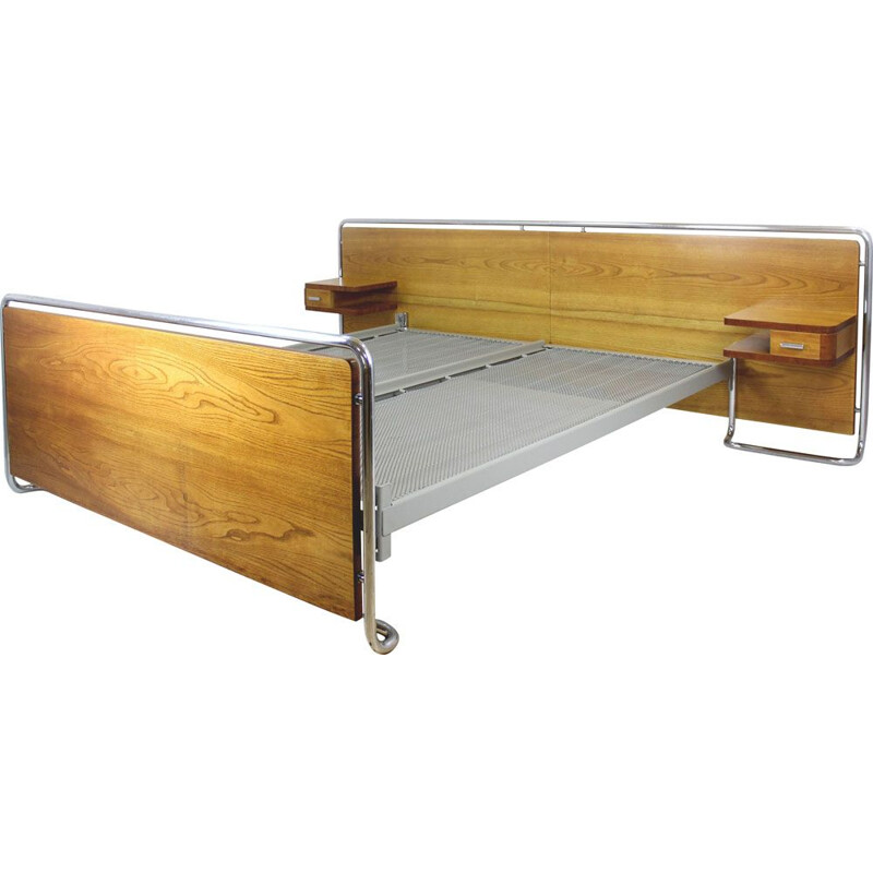 Vintage Bauhaus chromed tubular steel bed with nightstands by Rudolf Vichr, Czechoslovakia 1940s