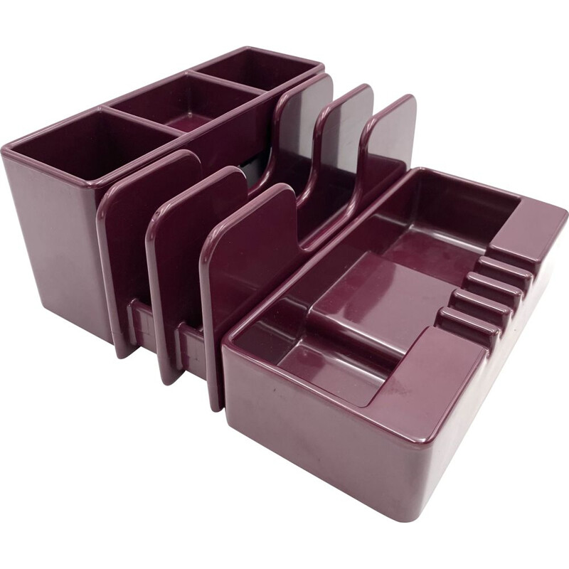 Sistema45 series vintage wine red ashtray & desk organizers by Olivetti Synthesis for Ettore Sottsass, 1971s