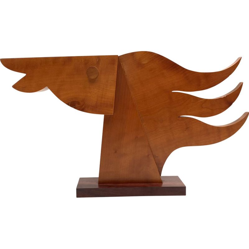 Vintage wooden horse head sculpture by Giorgio Pizzitutti, Italy 1980s