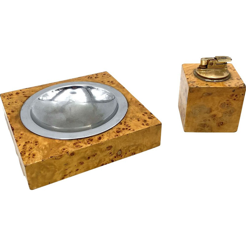 Vintage briarwood & brass ashtray and table lighter, Italy 1970
