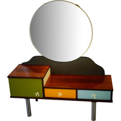 Dressing table in multicolored wood and metal with round mirror - 1960s