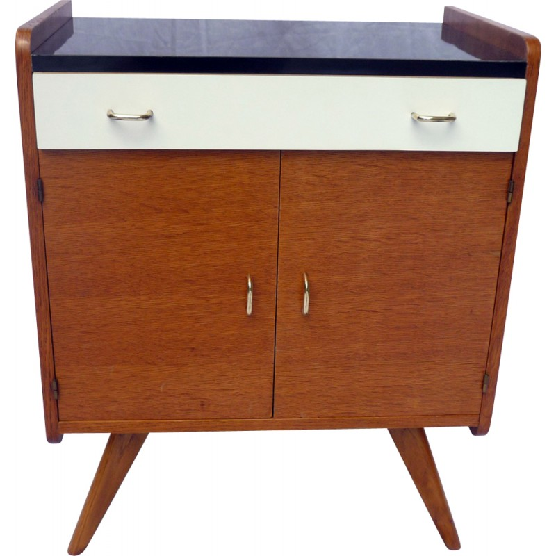 Small Mid Century Cabinet In Light Oak With Drawer 1950s Design