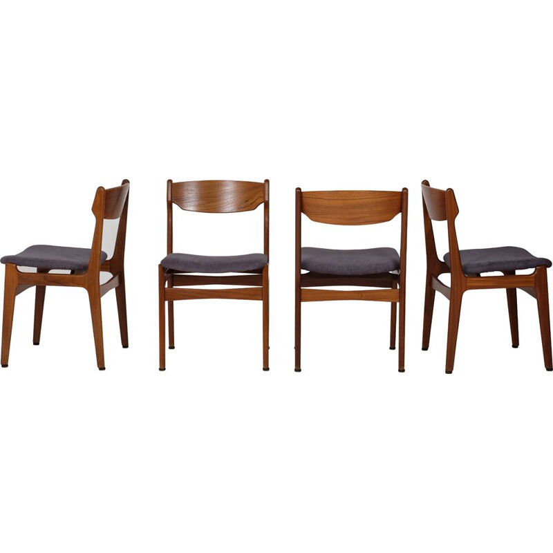 Set of vintage 4 chairs by Erik Buch for Odense Maskinsnedkeri, 1960s