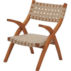 Easy chair in beech with beige straps - 1950s