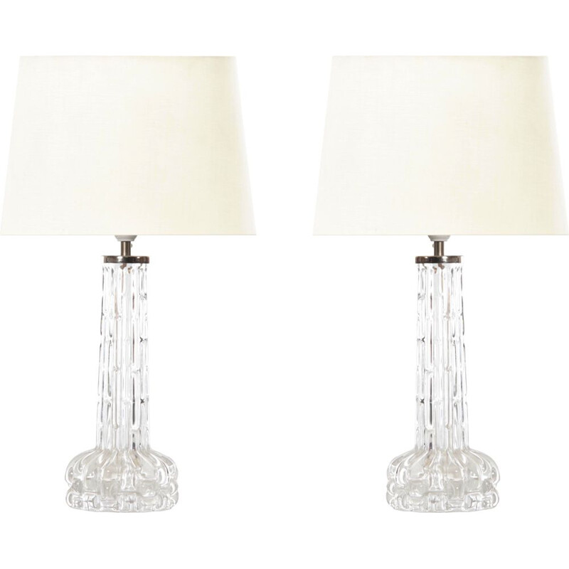 Mid-century pair of table lamps in cristral by Carl Fagerlund for Orrefors