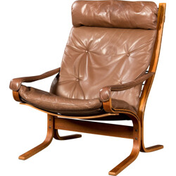 """""""Siesta"""" armchairs in leather and teak, Ingmar RELLING - 1970s"""