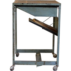 Industrial side table on wheels - 1960s