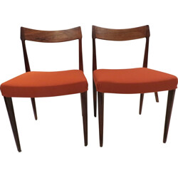 Pair of Danish chairs in rosewood and orange fabric - 1960s