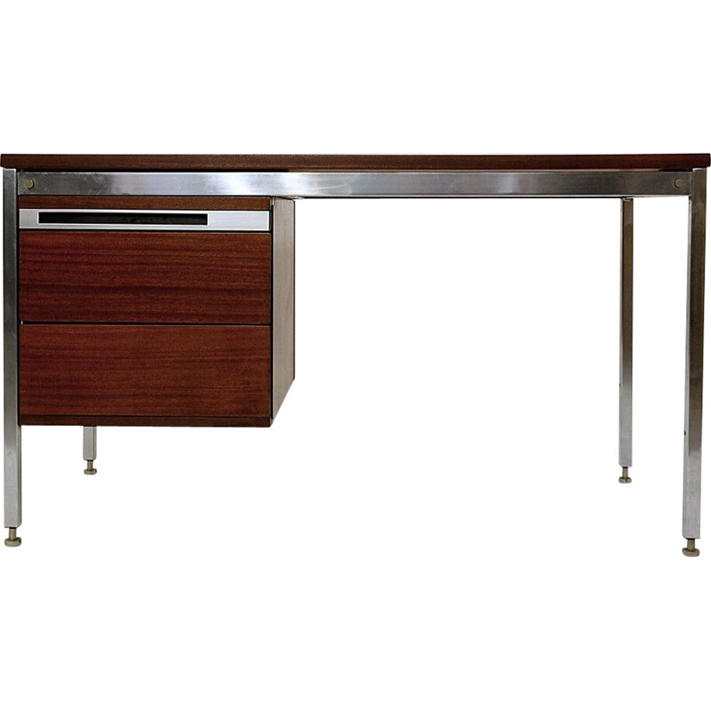 Vintage chrome and mahogany desk by Pierre Guariche, France 1960s