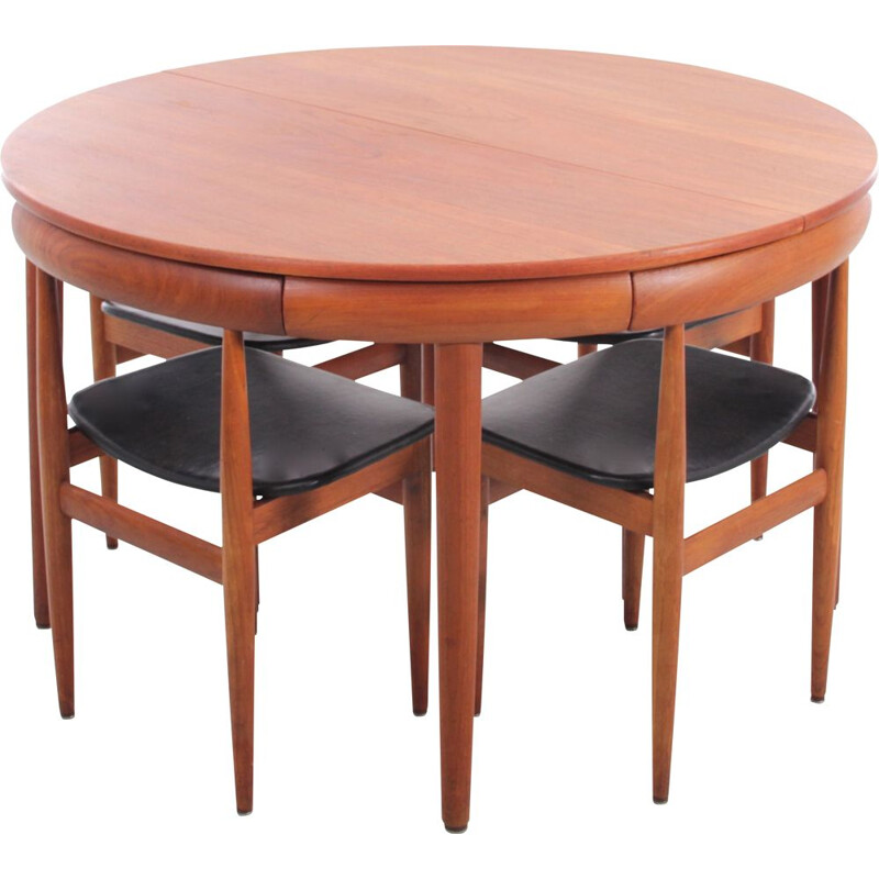 Set of 4 vintage teak chairs and extension table by Hans Olsen for Frem Rojle, 1964s