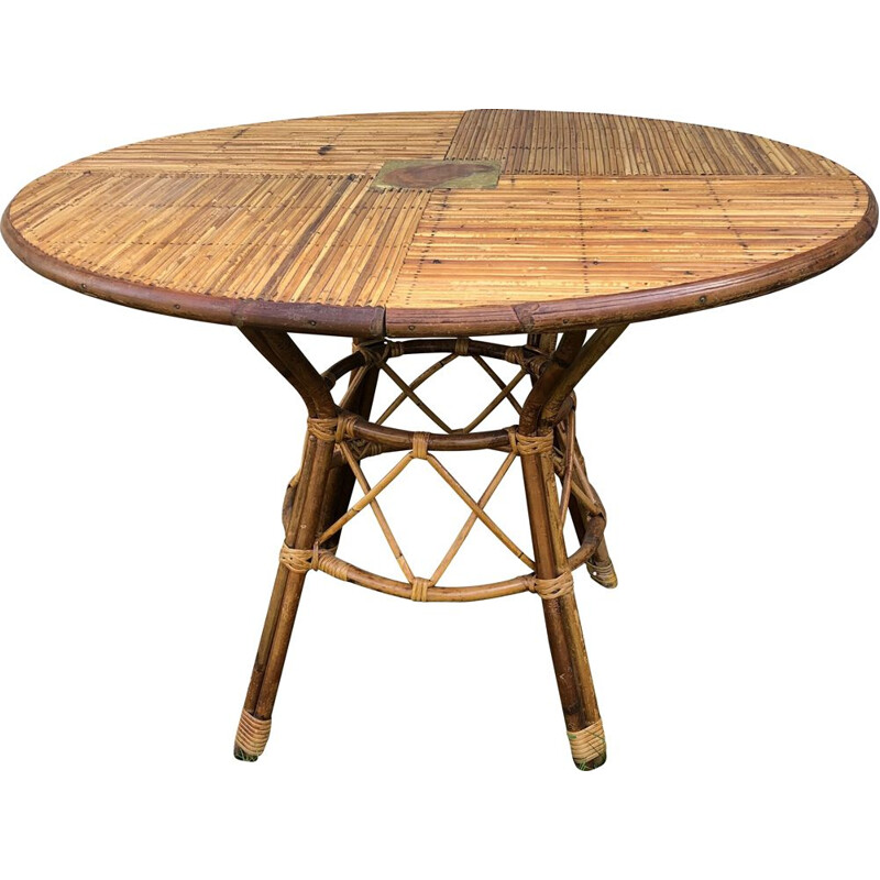 Vintage rolled bamboo table by Audoux et Minet