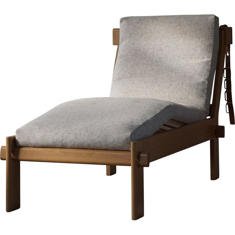 Vintage solid oak daybed with reupholstered cushions by Tage Poulsen, Denmark 1960s