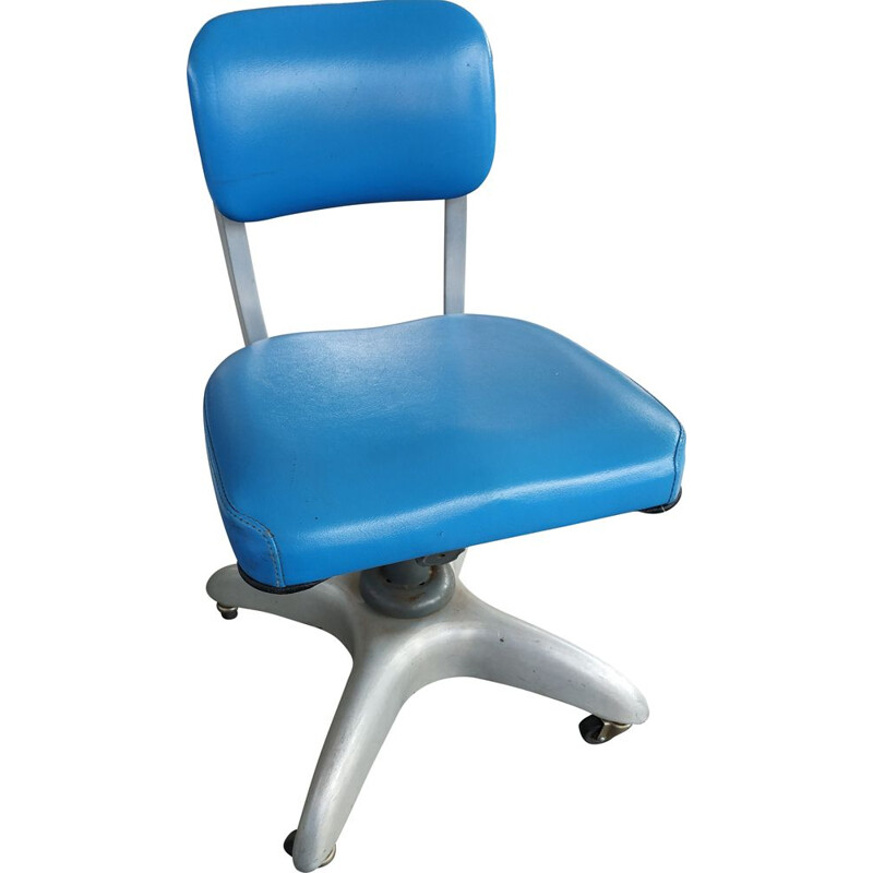 GoodForm industrial blue swivel tanker office desk chair by Gio Ponti, 1950s