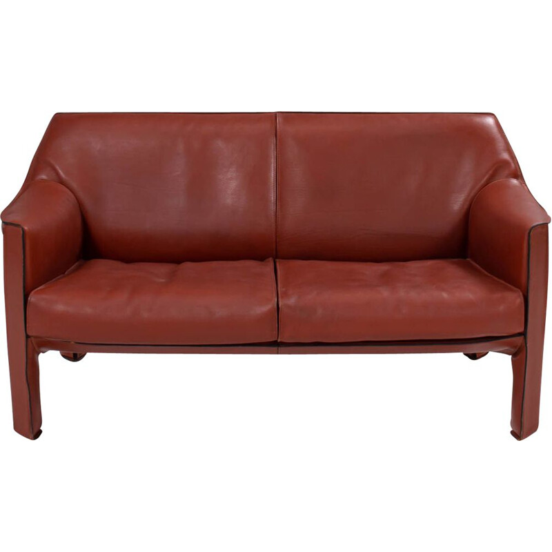 Cassina Cab leather 415 vintage sofa by Mario Bellini, 1977s