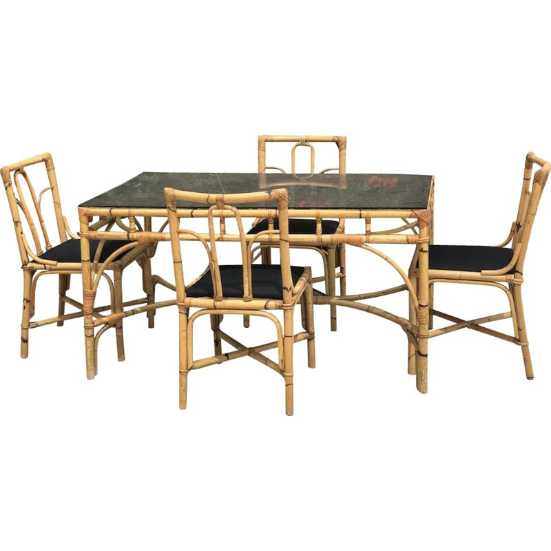 Dal Vera vintage bamboo and rattan table and 4 chairs, 1970s