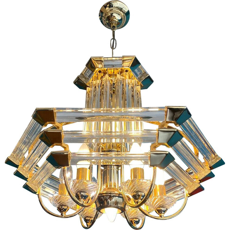 Vintage brass and glass chandelier by Paolo Venini